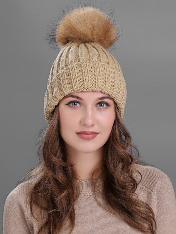 Shops Outdoor Flanging Fur Pom Ball Knitted Beanie
