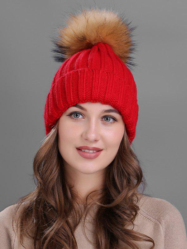 Affordable Outdoor Flanging Fur Pom Ball Knitted Beanie