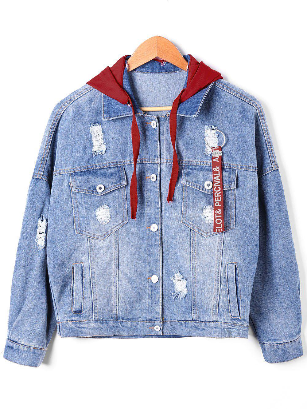 Discount Drawstring Hooded Ripped Denim Jacket