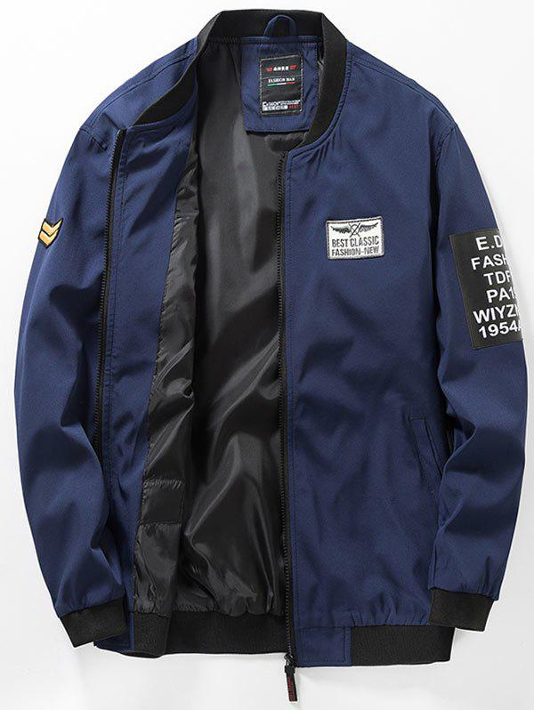 Zip Up Flag Patch Blouson aviateur Bleu profond M