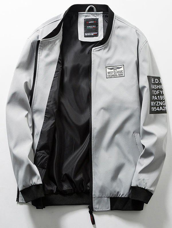 Online Zip Up Flag Patch Casual Bomber Jacket