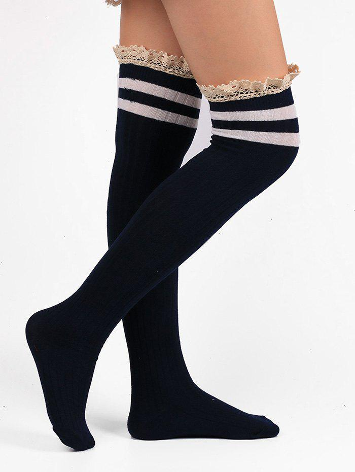 Discount Lace Edge Hemp Embellished Striped Knee High Socks
