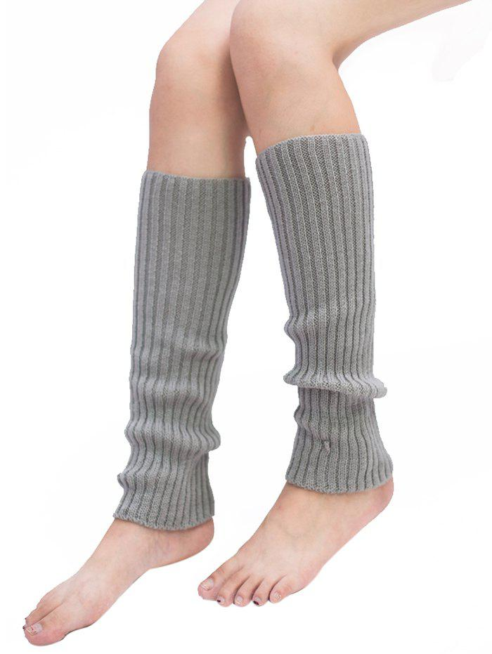 Light Gray Vertical Striped Pattern Knitted Leg Warmers Rosegal