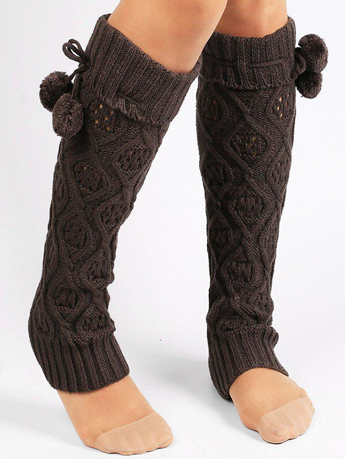 Latest Fuzzy Ball Decorated Hollow Out Knitted Leg Warmers