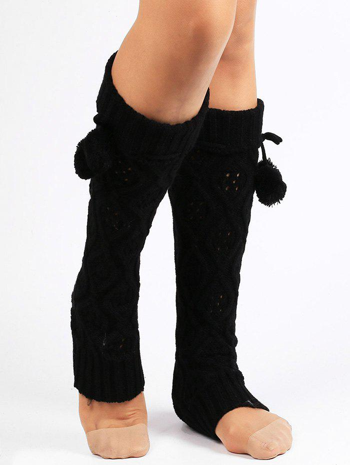 Fuzzy Ball Decorated Hollow Out Knitted Leg WarmersACCESSORIES<br><br>Color: BLACK; Type: Leg Warmers; Group: Adult; Gender: For Women; Style: Fashion; Pattern Type: Others; Weight: 0.2300kg; Package Contents: 1 x Leg Warmers (Pair of);
