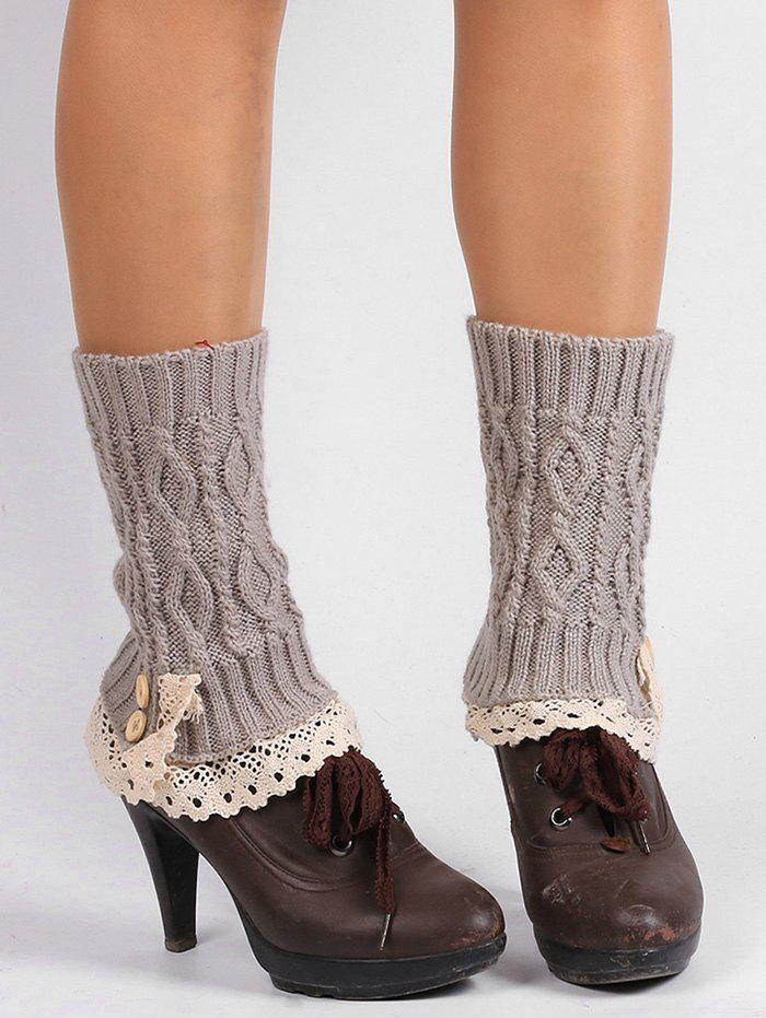 Outfits Lace Edge and Button Embellished Leg Warmers