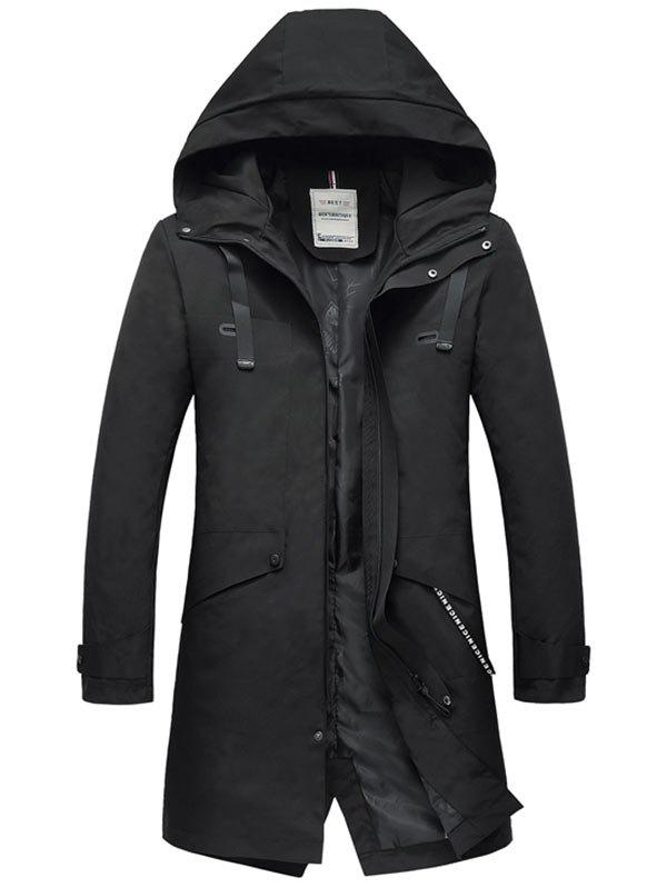 Chic Zip Up Multi Pockets Hooded Trench Coat