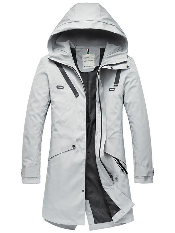 Discount Zip Up Multi Pockets Hooded Trench Coat