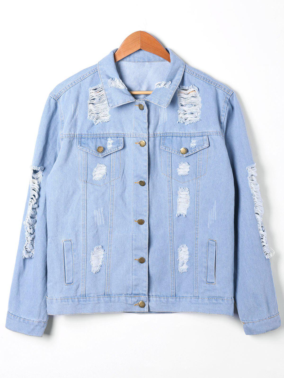 Outfit Button Up Distressed Denim Jacket