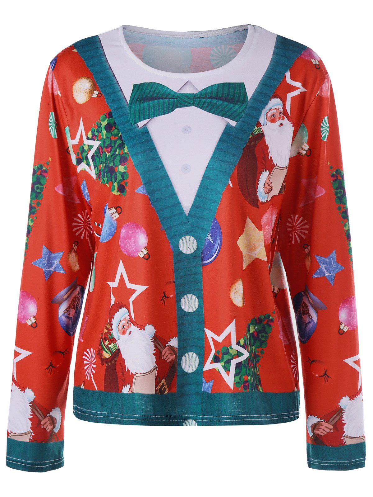 Plus Size Christmas Santa Claus Long Sleeve TopWOMEN<br><br>Size: 5XL; Color: RED; Material: Polyester,Spandex; Shirt Length: Long; Sleeve Length: Full; Collar: Round Neck; Style: Casual; Season: Fall,Spring; Pattern Type: Character; Weight: 0.3300kg; Package Contents: 1 x Top;
