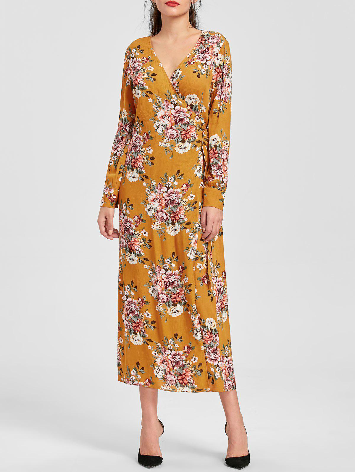 Store Floral Print Long Sleeve Maxi Wrap Dress