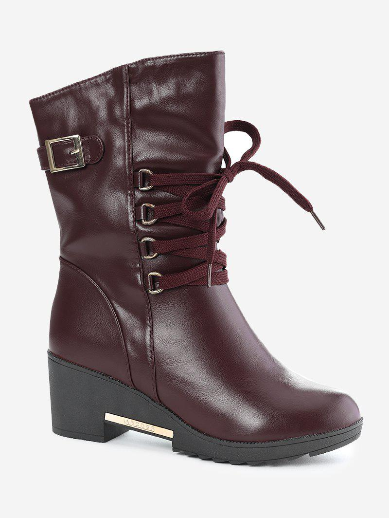 Affordable Buckle Strap Mid Calf Boots
