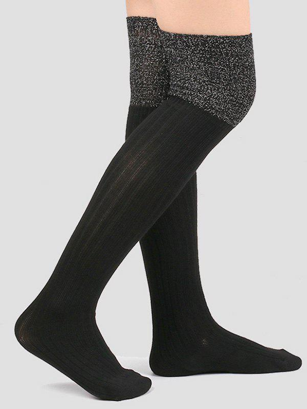 Hot Ribbed Knitted Plain Stockings