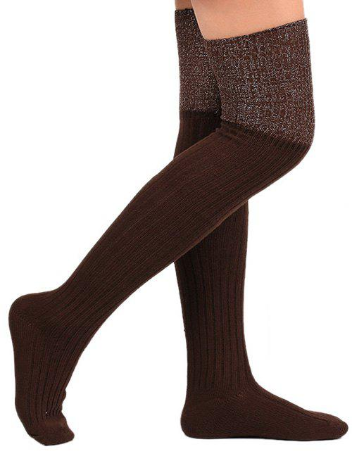 Sale Ribbed Knitted Plain Stockings