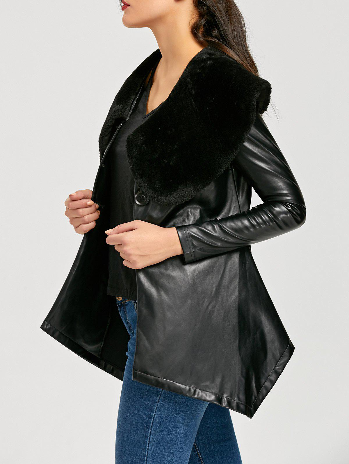Shops Faux Fur Collar Asymmetric PU Leather Coat