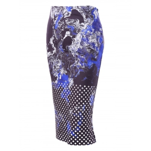 Zipper Midi Print Skirt - BLACK 2XL