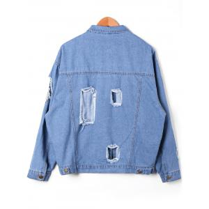 Flap Pockets Holes Denim Jacket -