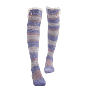 Pair of Button Decorated Lace Edge Knee Highs Socks - VIOLET BLUE