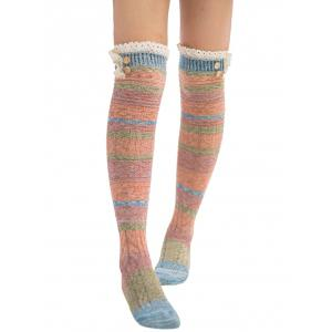 Pair of Button Decorated Lace Edge Knee Highs Socks - LAKE BLUE