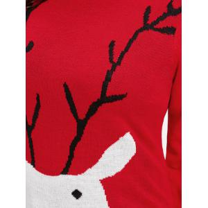 Christmas Elk Printed Plus Size Sweater - RED XL