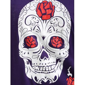 Halloween Skull Print Plus Size Long Sleeve T-shirt -