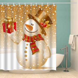Christmas Snowman Polyester Waterproof Bath Curtain -