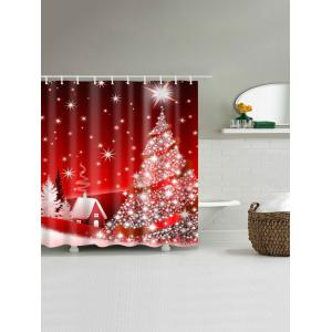 Christmas Tree Polyester Waterproof Bath Curtain - RED W59 INCH * L71 INCH