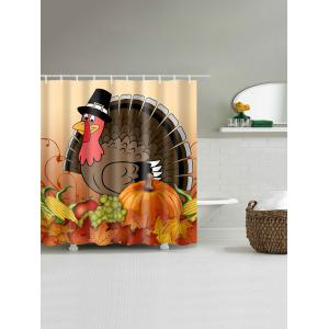 Thanksgiving Turkey Food Waterproof Shower Curtain - COLORMIX W59 INCH * L71 INCH