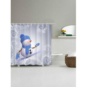 Snowman Skateboard Polyester Waterproof Bath Curtain -