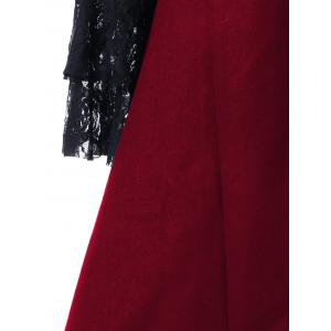 Lace Insert Lace-up High Low Coat - RED XL