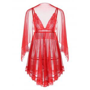 Mesh Sheer Slip Babydoll - RED L