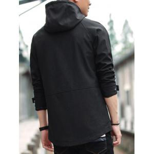 Zipper Up Veste à capuche à manches raglan - Noir 4XL