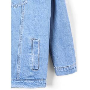 Faded Flap Pockets Hooded Denim Jacket - DENIM BLUE XL