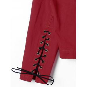 Slit Lace Up manches courtes veste - Rouge M