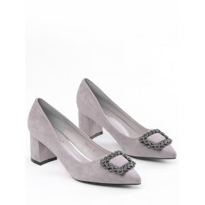 Pointed Toe Rhinestone Chunky Heel Pumps - SUEDE ROSE 35
