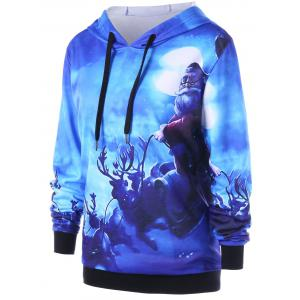 Christmas Plus Size Reindeer Drawstring Neck Hoodie - BLUE XL