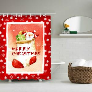 Christmas Santa Stocking Print Waterproof Bathroom Shower Curtain -