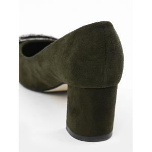 Pointed Toe Rhinestone Chunky Heel Pumps - ARMY GREEN 35