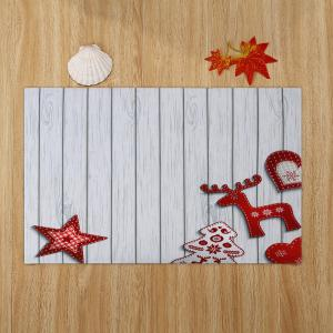 Christmas Star Wood Pattern Anti-skid Water Absorption Area Rug -