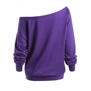 Lips Graphic Plus Size Skew Neck Sweatshirt - PURPLE 4XL