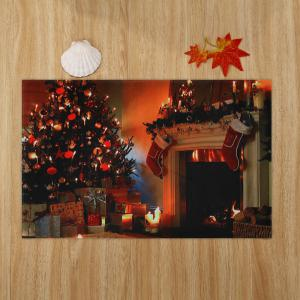 Christmas Tree Fireplace Pattern Anti-skid Water Absorption Area Rug -