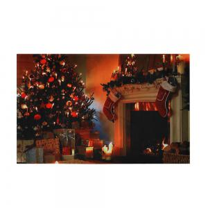 Christmas Tree Fireplace Pattern Anti-skid Water Absorption Area Rug - COLORMIX W16 INCH * L24 INCH