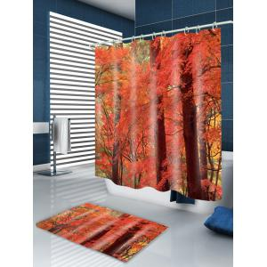 Maple Forest Print Waterproof Bathroom Shower Curtain - RED W59 INCH * L71 INCH