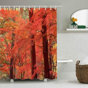 Maple Forest Print Waterproof Bathroom Shower Curtain -