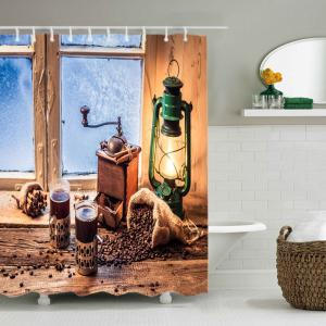Window Lantern Print Waterproof Bathroom Shower Curtain -