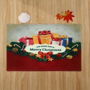 Christmas Gift Print Nonslip Coral Fleece Bath Mat - COLORMIX W24 INCH * L35.5 INCH