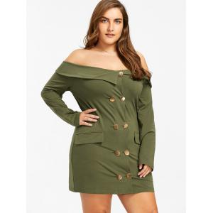 Off The Shoulder Double Breasted Robe Plus Size - Vert Armée 5XL