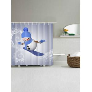 Skateboard Snowman Print Waterproof Bath Curtain -