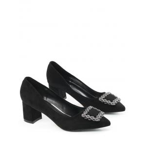 Pointed Toe Rhinestone Chunky Heel Pumps - BLACK 34