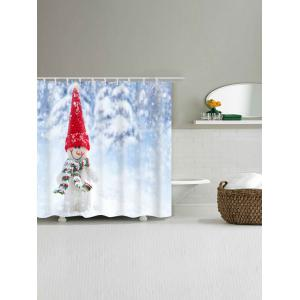 Snowman Printed Waterproof Polyester Bath Curtain - COLORMIX W59 INCH * L71 INCH